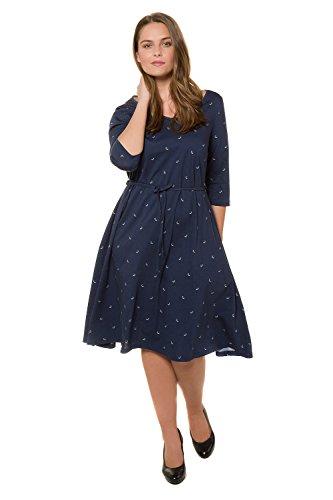 Ulla Popken Damen große Größen bis 60, Jerseykleid, Kleid mit Gürtel, Muster, A-Linie, Knielang & ¾-Ärmel, Bio - Baumwolle Marine 42/44 717488 70-42+