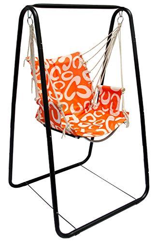 Hängesesselgestell mit Hängestuhl Schaukel für Kinder und Erwachsene Komplettset Metall-Gestell mit Hängesitz in Orange für Innen und Außen