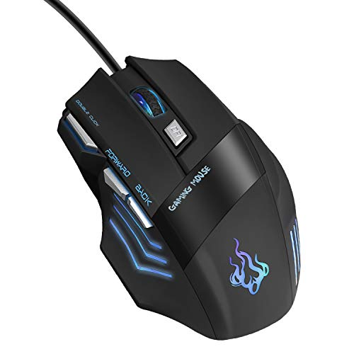 QueenDer Mouse Gaming,Gioco/Lavoro Wired USB Mouse,Ergonomico Lampada LED RGB 7 Colori Mouse,Mouse 4DPI(3200DPI/2400DPI/ 1600 DPI/ 1000 DPI),per Notebook, PC, Computer Portatile-Nero
