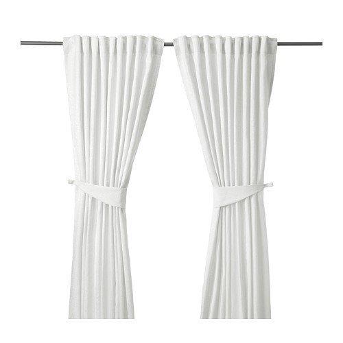 IKEA BLEKVIVA 2 Gardinen + Raffhalter, weiß 145x300 cm