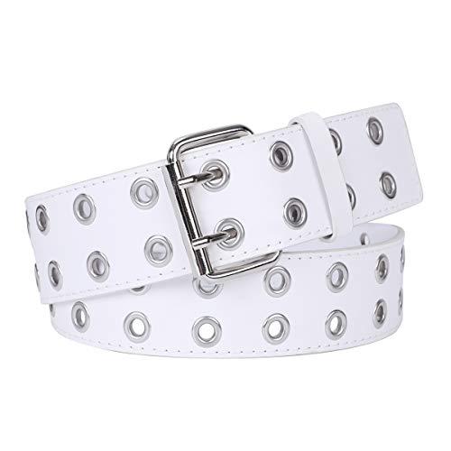 WERFORU Cinturón de doble ojal de piel sintética con hebilla de cinturón doble punk para pantalones vaqueros y vestidos de mujer Blanco blanco traje 101.6 cm