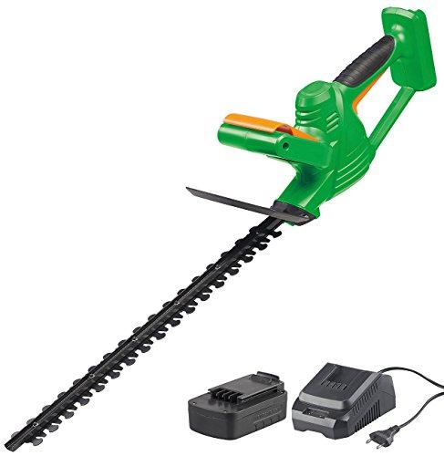 AGT Professional Elektroheckenschere: Akku-Heckenschere mit Schnell-Ladegerät, 46 cm, 1.200 U/min, 2 Ah (Kabellose Heckenschere)