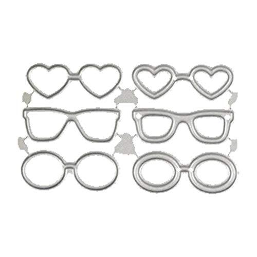 guantongda Set niedliche Mini-Brillen Stanzformen Schablone Scrapbook Album Papier Karte Basteln DIY für Heimdekoration - 3.2 * 1.5