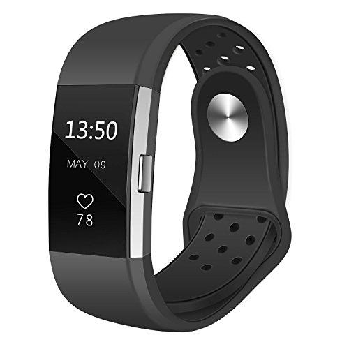 Fitbit Charge 2 Armband Nike Sportarmband, atmungsaktives Silikon, Austauschzubehör, Armband für Fitbit HR Fitness Tracker, Anthrazit/Schwarz klein S