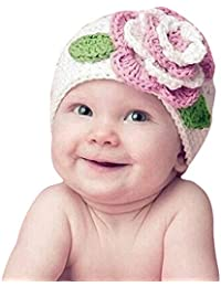 Homebaby Bambino Neonato delle Cappelloi a Maglia in Cotone Fiore Cappuccio  Morbido Cappello Inferiore Bambino Ragazzo Ragazza… 697d6f538b19