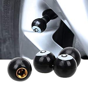 HANO 4pcs Universal-Auto-LKW-Rad-Reifen-Luftventilkappen Felgen Luft CapsWater Staub-Beweis-Schutz-Schwarz-Eight Ball