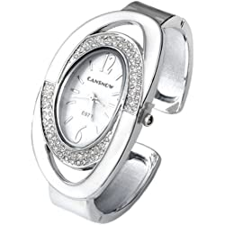 JS Direct 1x Fashion Women's Silver-tone Crystal Oval Quartz Wrist Watch,Cuff Bangle Bracelet, 6 Colors (White)