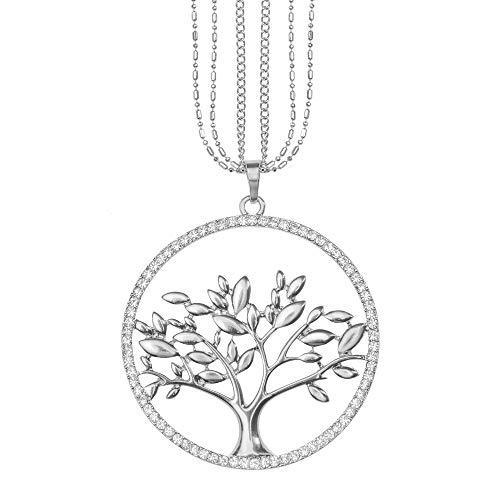 Strass Kristall Anhänger (Mianova Damen Lange Halskette Kette Lebensbaum Anhänger mit Swarovski Elements Strass Kristall Steinen Lang Silber Groß)