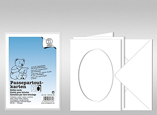 Lot de 10 cartes passe-partout, blanc, fenêtre ovale, avec enveloppes