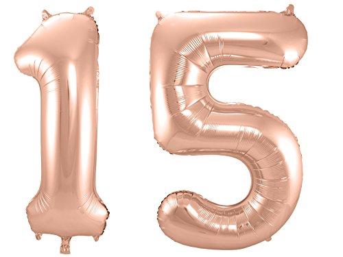 Folat 800051 - Folienballon - Zahl 15 - rosegold - ca. 86 cm hoch 15
