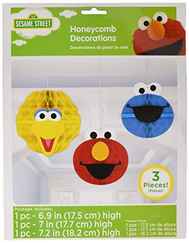 amscan 299597 Sesame Street Honeycomb Decorations Party-Zubehör, Papier, mehrfarbig