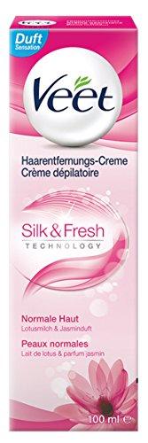 Veet Haarentfernungs Creme Silk und Fresh normale Haut, 100 ml