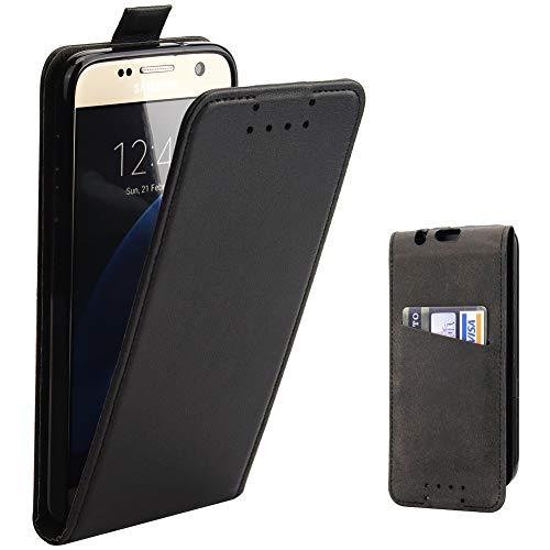 Galaxy S7 Hülle, Supad Leder Tasche für Samsung Galaxy S7 Handyhülle Flip Case Schutzhülle (Schwarz) - Unten Tasche