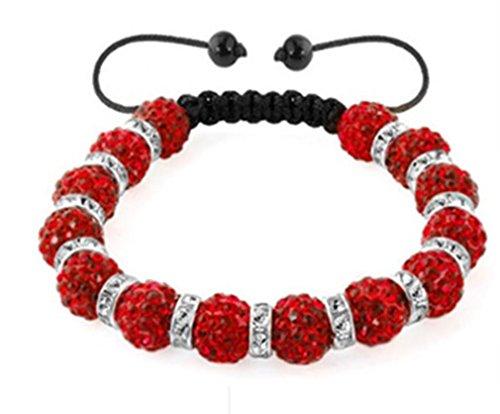 AccessCube Unisex Kristall Shamballa Armband Armreifen Männer Frauen Shamballa Perlen Armband Armband Manschett (Rot)