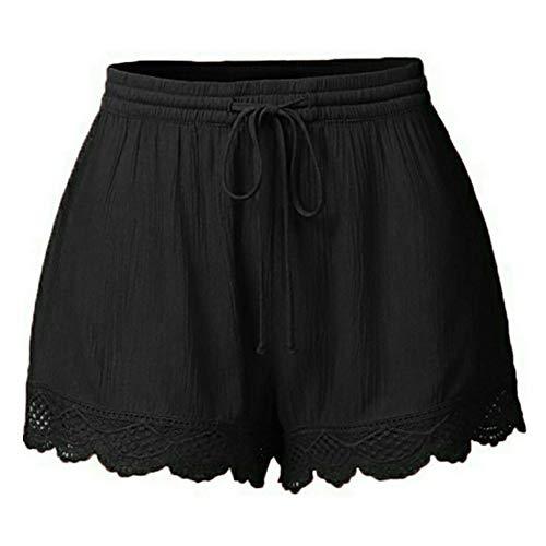 OYSOHE Damen Mode Spitze Große Größe Kurze Hose Yoga-Sweatshorts Gamaschen(Schwarz,X-Large) - Low-rise-gestreifte Shorts