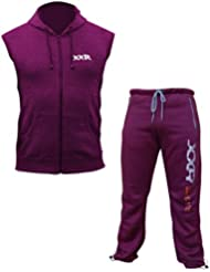 XXR Sleeveless Fleece hood & XXR Deluxe Joggers Casual & Top Gym Wear fitness Clothing (Maroon)