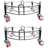 BHAGWATI Premium Stainless Steel LPG Gas Cylinder Trolley with Wheels for Home (Pack/Set of 2)