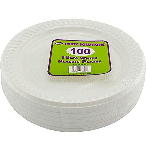 100piatti di plastica bianchi, 7pollici/18cm piatti di qualità ideale per cibi caldi e freddi. Spedizione gratuita