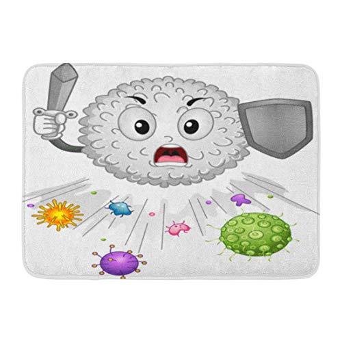 Badematte Verteidigung Immun Maskottchen mit weißen Blutkörperchen jagen Antigene entfernt System Cartoon Badezimmer Dekor Teppich -