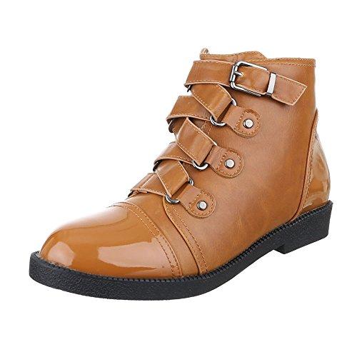 Ital-Design Komfort Stiefeletten Damen Schuhe Schlupfstiefel Blockabsatz Blockabsatz Reißverschluss Stiefeletten Camel