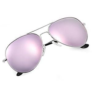 Yveser Gafas de Sol UV400 polarizadas para Hombres y Mujeres Yv3025 (Lente Rosa/Marco Plateada)