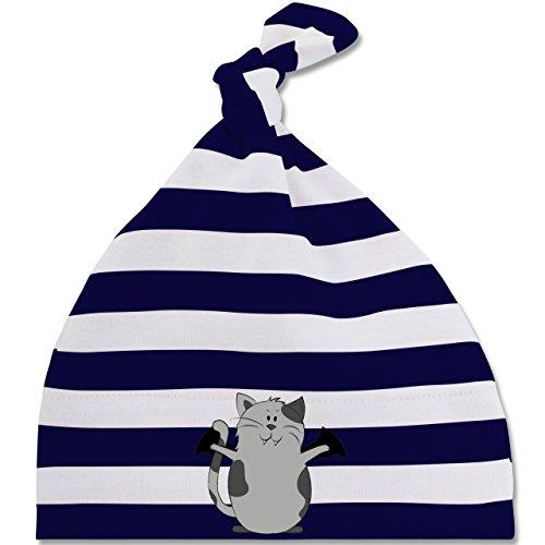 Anlässe Baby - Katze Halloween - Unisize - Navy Blau/Naturweiß - BZ15S - gestreifte Baby Mütze mit Knoten / Bommel für Jungen und (Kind Kostüme Hexe Wunderbares)