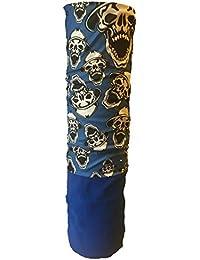 Multifunction Half Fleece Neckwarmer, Snood, Hat, Scarf and Hood with Blue skulls with hats print by Monogram