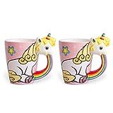 el & groove Einhorn-Tasse groß Bunt in 3D | Kaffee-Tasse 350ml (400ml randvoll) im 2er Set | Tee-Tasse Einhorn aus Porzellan in Rosa, Weiß und Regenbogen | Comic | Unicorn | Sterne | Geschenkidee