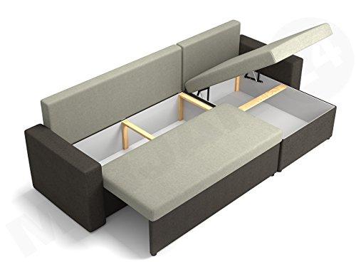 Ecksofa Top Lux! Sofa Eckcouch Couch! mit Schlaffunktion und zwei Bettkasten! Ottomane Universal, L-Form Couch Schlafsofa Bettsofa Farbauswahl (Soft 011 + Lawa 06) - 4