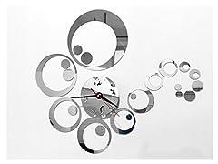 Idea Regalo - Tofern 3D Fai da te Splendido Orologio da Parete Adesivi Removibile Specchio Argento Murales Decal Casa Soggiorno Camera da Letto Decorazione -Argento