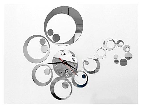 Tofern 3d fai da te splendido orologio da parete adesivi removibile specchio argento murales decal casa soggiorno camera da letto decorazione -argento