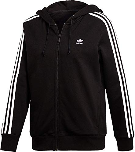 adidas Damen 3-Stripes Kapuzenjacke, Black, 38