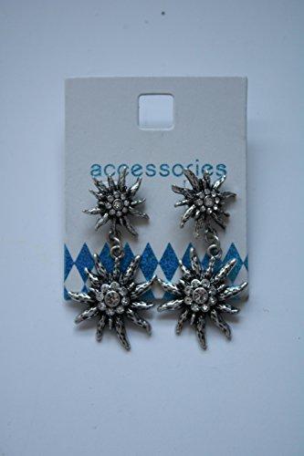 Trachtenschmuck Trachten-Ohrringe mit Edelweiss-Anhänger Farbe: Silber Glitzersteinen Trachten-Dirndl-Schmuck Ohrringe für Damen, Dirndlschmuck. Damit wird das Dirndl zum absoluten Highlight. Schmuck