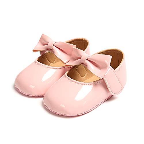 Zapatos Recien Nacido Antideslizante Bailarinas Princesa Bowknot Bebé Niñas Rosado 0-6 Meses