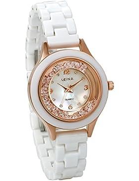 JewelryWe Damen Armbanduhr, Elegant Charm Analog Quarz Uhr mit Exquisit Strass Muschel Zifferblatt & Keramik Armband...