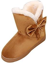 a6a43d64b6f3c Bottes Femme Hiver SHOBDW Bottines Chaud Bowknot Neige Automne Noir Marron  Chaussures