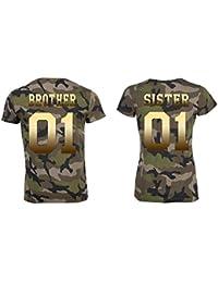 TRVPPY Pareja 2X Camiseta Camouflage T-Shirt Modelo Brother   Sister para  Hombre 722e2572b071a