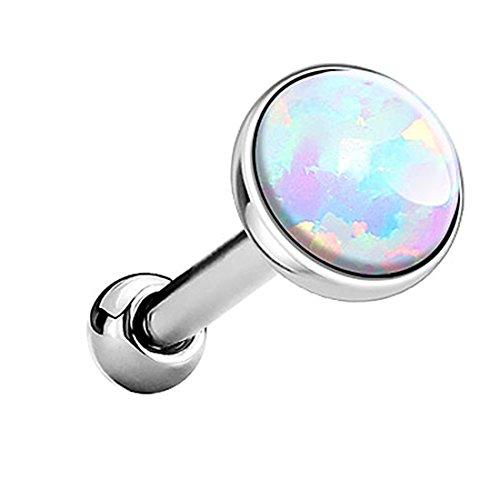 Piersando Tragus Piercing Helixpiercing Helix Ohr Cartilage Knorpel Stecker mit flachen Opal Steinen Silber Weiß 5mm (Opal Tragus Piercings)