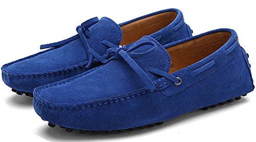 ZEROLING Herren Quaste Lederne Schuhe Suede Loafers Bao Blau