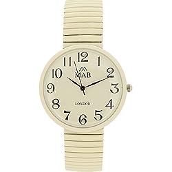 Mab London Unisex Big Cream Expandable Strap Watch 12 month guarantee!