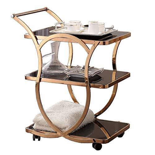 LPCG Rolling Kitchen Bad Trolley Cart/Metall gehärtetes Glas Tee Bar Weinregal/Utility Storage/Home Restaurant Insel Serving Cart w/Rädern (2 Arten) -