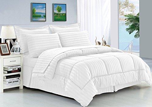 Eleganten Komfort knitterfrei-seidig weich Dobby Stripe Bed-in-a-Bag 8-teilig Tröster Set--Hypoallergenic-King weiß (Weiß Tröster Set King)