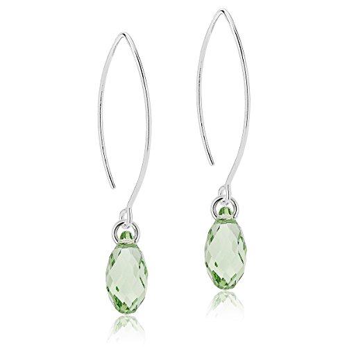 DTPsilver - Damen - Ohrringe Ohrhänger Briolette 925 Sterling Silber mit Kristall aus Swarovski Elements - Träne - Farbe : Peridot - Grün