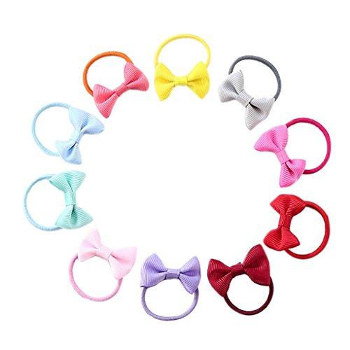 Bobury 10pcs Bowknot Elastische Haar-Gummibänder Mädchen-Kind-Fliege-Haar-Ring-Seil-Kopfbedeckung-Verzierungen