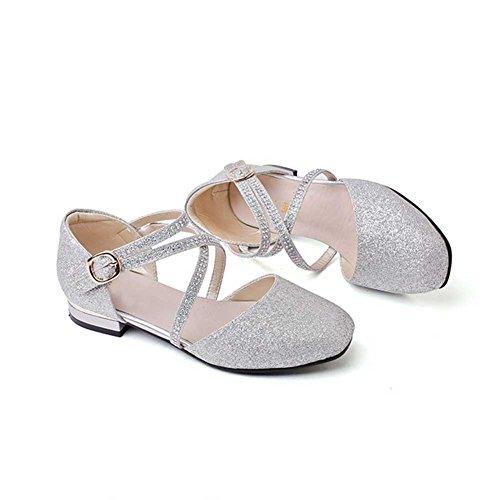 HXD Mädchen Prinzessin Schuhe Kostüm Ballerina Ballerina Flache Sandalen Festliche Mädchenschuhe Taufschuhe (31/Innenlänge 20.7cm, Silber) (Silber Tanz Kostüm)