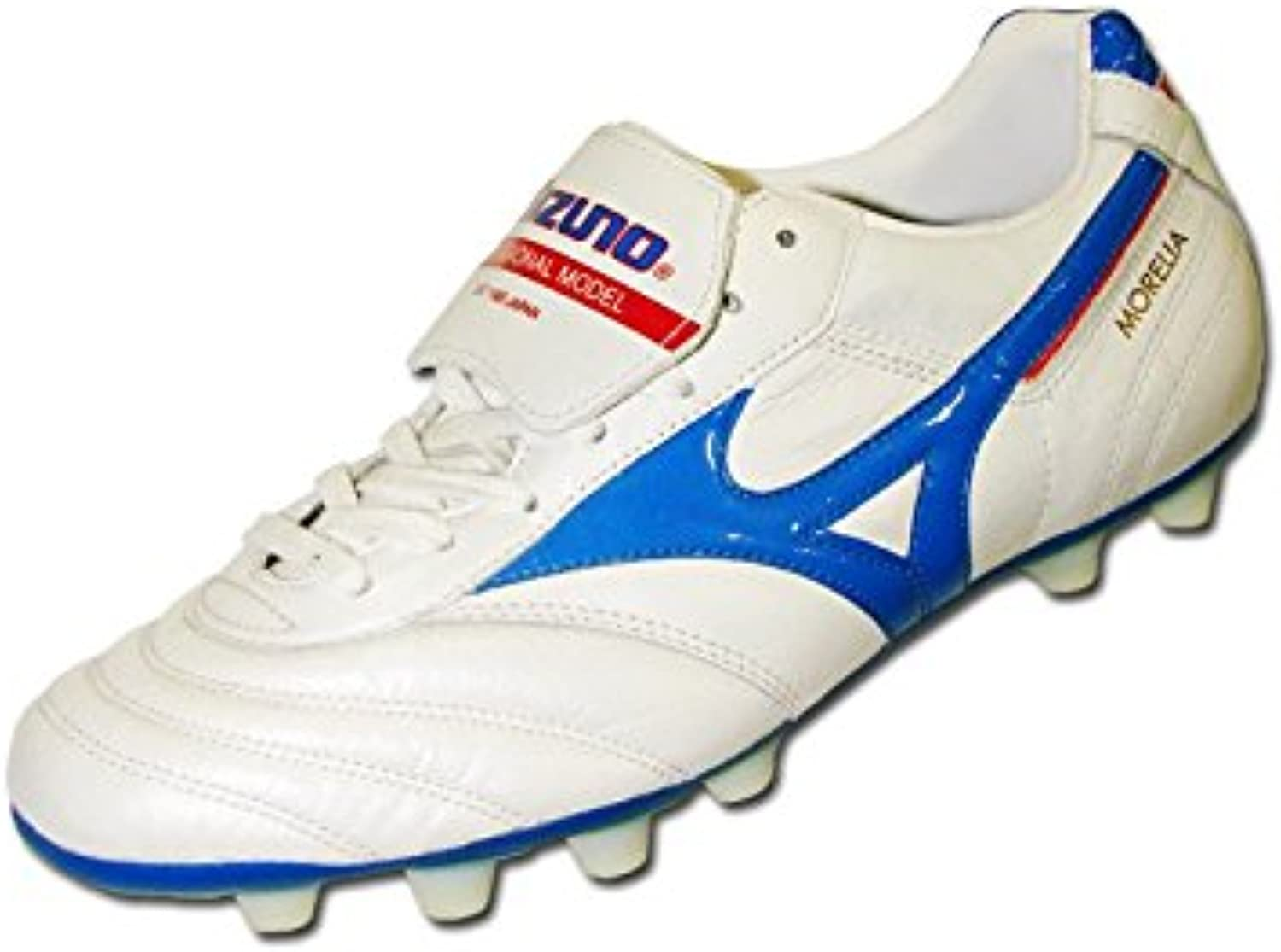 Morelia Moulded FG Football Boots   Pearl White/Blue/Red   size 9