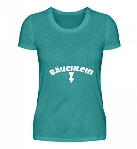 Shirtee Hochwertiges Damen Organic Shirt - Bäuchlein - ein wegweisendes Shirt für Alle Schwangeren oder Einfach So Dickerchen, Die Sich Einen Spaß Aus Ihrem Bäuchlein Machen. Atollblau