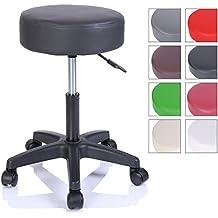 Sgabello da lavoro Sgabello girevole Sgabello Sgabello per salone estetico Sgabello per ambulatorio medico, con rotelle, rotazione libera di 360°, 10 cm di imbottitura, 8 colori diversi (Nero)