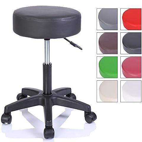 TRESKO® Swivel chair Office stool Beauty salon stool Medical stool Rollable stool, Adjustable height, with Wheels, 360 degree rotation, 10 cm cushion, 8 colours (Black)