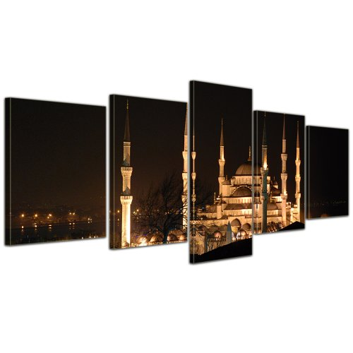 Bilderdepot24 Kunstdruck - Moschee bei Nacht - Bild auf Leinwand - 200x80 cm 5 teilig - Leinwandbilder - Bilder als Leinwanddruck - Wandbild Städte & Kulturen - Istanbul - Sultan Ahmed Moschee